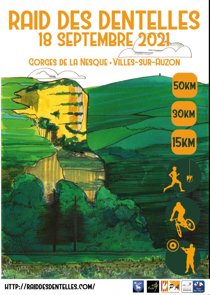 affiche raid des dentelles vaucluse gorges de la nesque